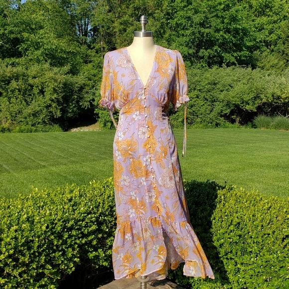 ASTR Chandler Lilac Floral Print Midi Dress
